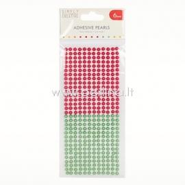 Lipnūs perliukai, raudonos ir žalios sp., 6 mm, 372 vnt.
