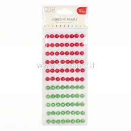 Adhesive pearls, red and green, 10mm, 88 pcs
