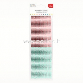 Adhesive gems, red and green, 3 mm, 1080 pcs