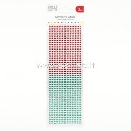 Lipnūs kristalai, raudonos ir žalios sp., 3 mm, 1080 vnt.