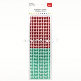 Adhesive gems, red and green, 6 mm, 504 pcs