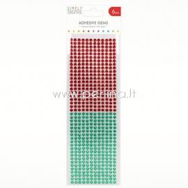 Lipnūs kristalai, raudonos ir žalios sp., 6 mm, 504 vnt.
