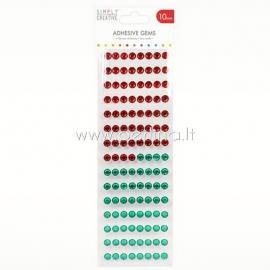 Lipnūs kristalai, raudonos ir žalios sp., 10 mm, 120 vnt.