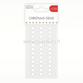 Adhesive Christmas Gems, clear, 124 pcs