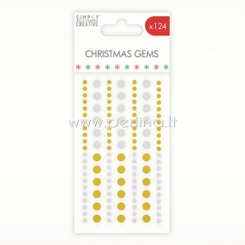 Adhesive Christmas Gems, gold and silver, 124 pcs
