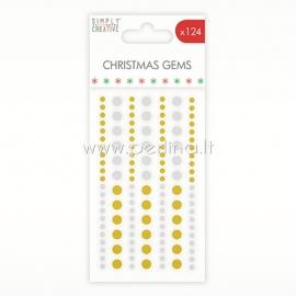 "Lipnūs kristalai ""Christmas Gems"", aukso ir sidabro sp., 124 vnt."
