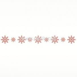 """Lipni popierinė juostelė """"Snowflakes in Red"""", 8 m"""