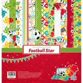 """Paper collection set """"Football Star"""", 30,5x30,5 cm, 8 sheets"""