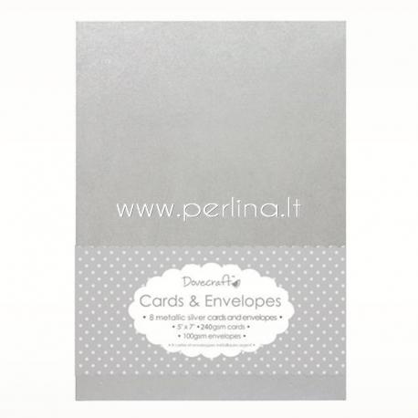 Atviručių su vokais rinkinys, žvilganti sidabrinė sp., 12,5x18,7 cm, 8 vnt.