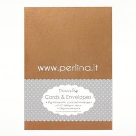 Cards with envelopes, antique gold metallic, 12,5x18,7 cm, 8 pcs