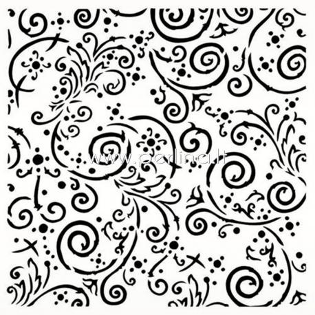 "Plastikinis trafaretas ""Swirls - Out of the Blue"", 15x15 cm."