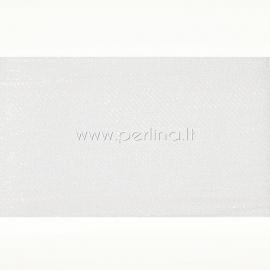 Organza ribbon, white, 50 mm, 1 m