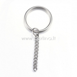 Key chain ring, stainless steel, 74x30x3mm