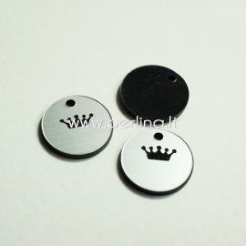 """Org. stiklo pakabukas """"Karūna 2"""", juodos/sidabrinės sp., 1,5x1,5 cm"""