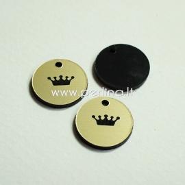 "Engraved plexiglass pendant ""Crown 2"", black/gold, 1,5x1,5 cm"