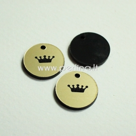 """Org. stiklo pakabukas """"Karūna 2"""", juodos/auksinė sp., 1,5x1,5 cm"""