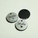 """Org. stiklo pakabukas """"Myliu"""", juodos/sidabrinės sp., 1,5x1,5 cm"""