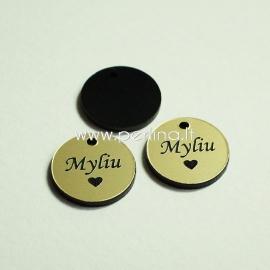 """Org. stiklo pakabukas """"Myliu"""", juodos/auksinė sp., 1,5x1,5 cm"""