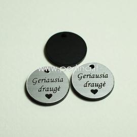 "Engraved plexiglass pendant ""Geriausia draugė"", black/silver, 1,5x1,5 cm"