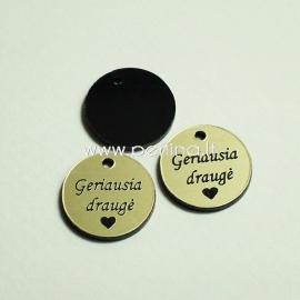 "Engraved plexiglass pendant ""Geriausia draugė"", black/gold, 1,5x1,5 cm"