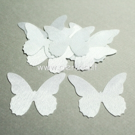 Fabric butterfly, white, 1 pc, select size