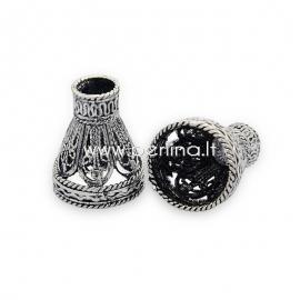 Brass bead cone, antique silver, 18x15 mm, 1 pc
