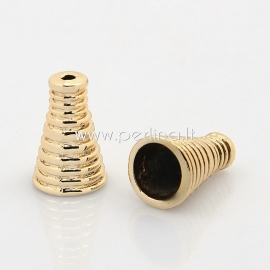 Bead cone, unfading golden tone, 16x10 mm, 1 pc