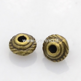 Intarpas - karoliukas, ant. bronzos sp., 5x3 mm, 1 vnt.