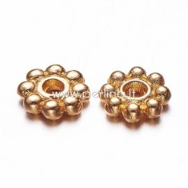 """Intarpas - karoliukas """"Gėlytė"""", aukso sp., 5x1,5 mm, 1 vnt."""