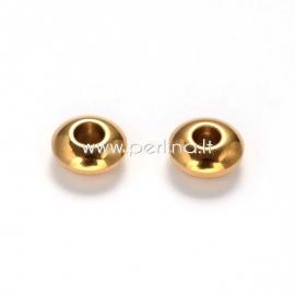 Intarpas - karoliukas, nerūdijantis plienas, aukso sp., 6x3 mm, 1 vnt.