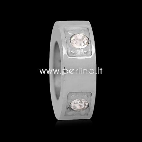 Intarpas - karoliukas su kristalais, nerūdijantis plienas, 8x3 mm, 1 vnt.