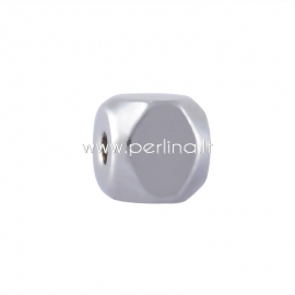 Spacer bead, stainless steel, 4x4x4 mm, 1 pc