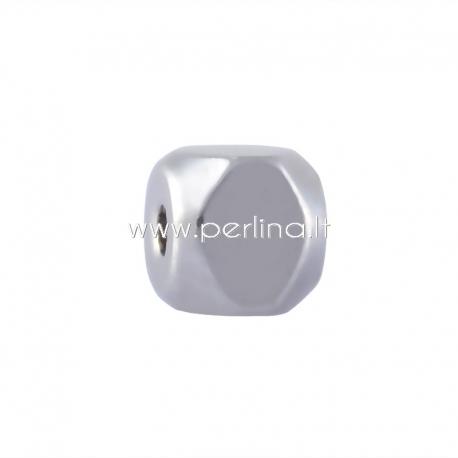 Intarpas - karoliukas, nerūdijantis plienas, 4x4x4 mm, 1 vnt.