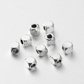 Spacer bead, antique silverl, 4x4x4 mm, 1 pc