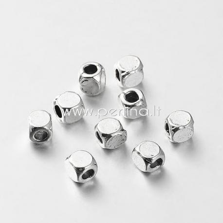 Intarpas - karoliukas, ant. sidabro sp., 4x4x4 mm, 1 vnt.