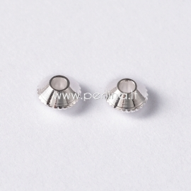 Spacer bead, silver, 4mm, 1 pc