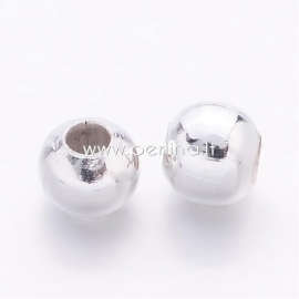 Spacer bead, silver, 3mm, 50 pcs