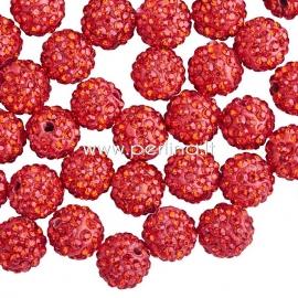 Shamballa karoliukas, raudona sp., 10 mm, 1 vnt.