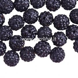 Pave disco ball bead, black, 10 mm, 1 pc