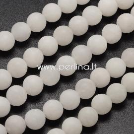 Natūralus baltasis žadeitas, matinis, baltos sp., 8 mm, 1 juosta (47 vnt.)
