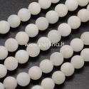 Natūralus baltasis žadeitas, matinis, baltos sp., 8 mm, 1 vnt.