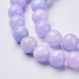 Natural jade bead, dyed, cornflowerblue, 8 mm, 1 strand (49 pcs)