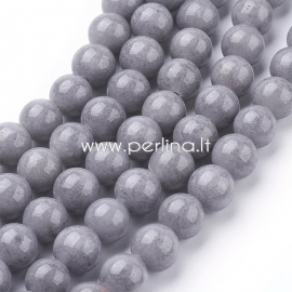 Natural Masha jade bead, dyed, gray, 8 mm, 1 strand (50 pcs)