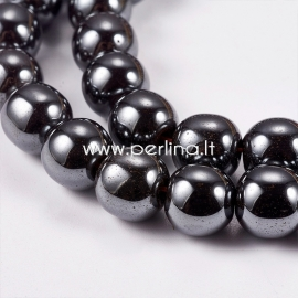 Sinthetic hematite bead, non magnetic, black, 6 mm, 1strand (55 pcs)