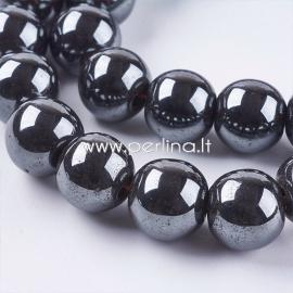 Sintetinis hematitas, karoliukas, ne magnetinis, juodas, 10 mm, 1 vnt.