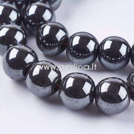 Sintetinis hematitas, karoliukas, ne magnetinis, juodas, 10 mm, 1 juosta (41 vnt.)
