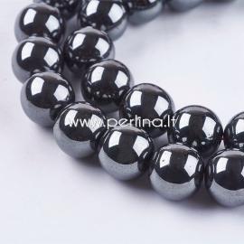Sintetinis hematitas, karoliukas, ne magnetinis, juodas, 12 mm, 1 juosta (36 vnt.)