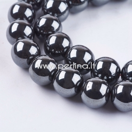 Sinthetic hematite bead, non magnetic, black, 12 mm, 1 strand (36 pcs)