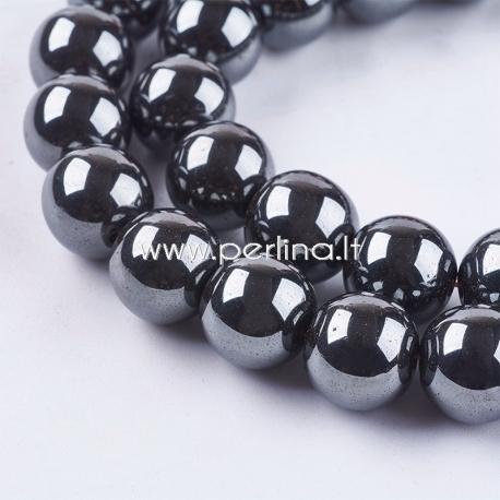Sintetinis hematitas, karoliukas, ne magnetinis, juodas, 12 mm, 1 vnt.