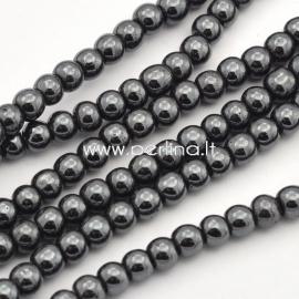 Sintetinis hematitas, karoliukas, ne magnetinis, juodas, 4 mm, 1 juosta (104 vnt.)
